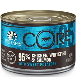 Wellness CORE 95% Natural Wet Grain Free Canned Dog Food, Whitefish & Salmon, 6-Ounce Can (Pack of 24)