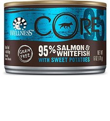 Wellness CORE Grain-Free 95% Salmon & Whitefish with Sweet Potatoes Canned Dog Food, 6-oz, case of 12