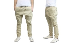 Galaxy By Harvic Men's MJTP-600 Twill Jogger Pants - khaki - Size: Large