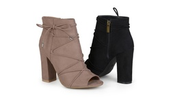 Journee Women's Peep Toe High Heel Boots - Taupe - Size: 7.5