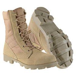 "AmeriTac Mens 9"" Side Zip Suede Leather Combat Boots: Desert Tan/11"