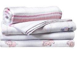 Aden & Anais Swaddle 4 Pack Jillaroo Muslin Blankets - Pink