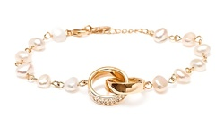 18K Gold Plated Swarovski Elements & Freshwater Pearl Double Ring Bracelet
