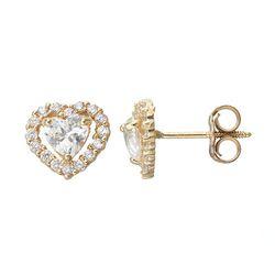 14k Solid Gold Heart Halo Kid Stud Earrings Clear Crystal By Swarovski