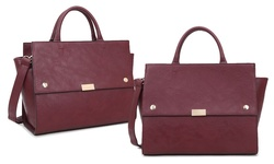 Dasein Women's Snap Front Satchel with Shoulder Strap - Wine - Size: One