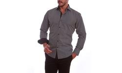 Azaro Uomo Men's Pladed Button Down Shirt - Black - Size: Large