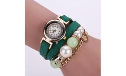 Wear'em Women's Crown and Pearl PU Leather Wrist Wrap Watch - Green