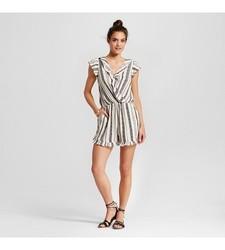 Xhilaration Women's Ruffle Short Sleeve Romper - Ivory Stripe - Size: XXL