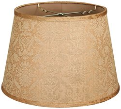 "Royal Designs Shallow Drum Lamp Shade - Gold - Size: 9.5"" x 14"" x 9.5"""