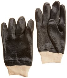 Total Source PVC Coated Single Dipped Gloves Interlock Lined - Black