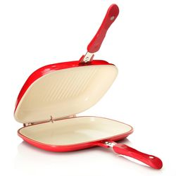Cook's Companion Nonstick Low Pressure Versa Flip Pan - Red