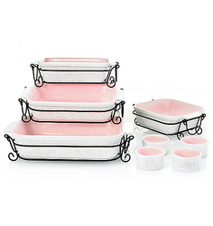 Cook's Companion 20pc Ceramic Bakeware Set - Pink