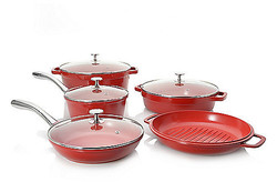 Cook's Companion Perfect Weight Ceramic Nonstick 9 Pcs Cookware Set - Red