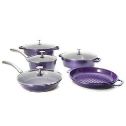 Cook's Companion Perfect Weight Ceramic Nonstick 9 Pcs Cookware Set - Plum