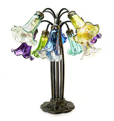Style at Home Margie Lily Hand Blown Mercury Glass Table Lamp - Peacock