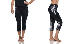 Aros Women's Camo-Print Capri Leggings - Black - Size: Small