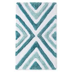 "Sabrina Soto 20"" x 34"" Geometric Pattern Tulum Bath Rug - Aqua Blue"