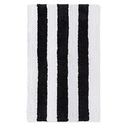 "Sabrina Soto 20"" x 34"" Stripe Pattern Tulum Bath Rug - Black/White"
