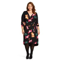 Ava & Viv Women's Plus Floral Print Wrap Dress - Black - Size: 4X