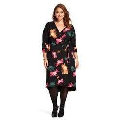 Ava & Viv Women's Plus Floral Print Wrap Dress - Black - Size: XL
