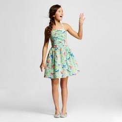 Cherokee Girls' Moonlight Jade Bird Print Dress - Mint - Size: XL