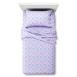 Circo Butterfly Flannel Bed Sheet Set - Purple - Size: Queen