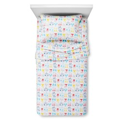 Circo 4-Pc 80-TC Animal Faces Flannel Bedsheet Set - White - Size: Queen