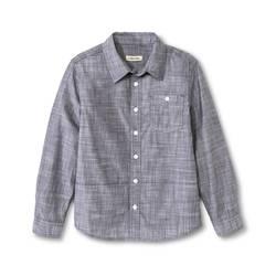 Cherokee Kids Boys' Slub Chambray Button Down Shirt - Grey - Size:M Husky