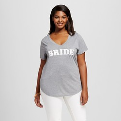 Modern Lux Women's Plus Bride Side Slit Graphic Tee - Grey - Size: 3X