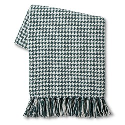 Threshold Houndstooth Chenille Throw - Teal/Blue