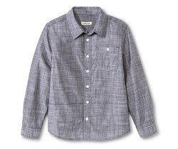 Cherokee Kids Boys' Slub Chambray Button Down Shirt - Grey - Size: XXL