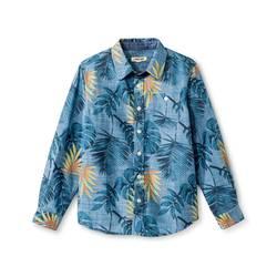 Cherokee Kids Boys' Palm Print Button Down Shirt - Blue - Size: Large