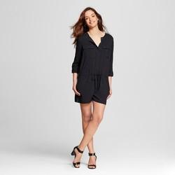 Merona Women's Long Sleeve Romper - Ebony Black - Size: Medium