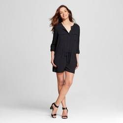 Merona Women's Long Sleeve Romper Ebony - Black - Size: XS
