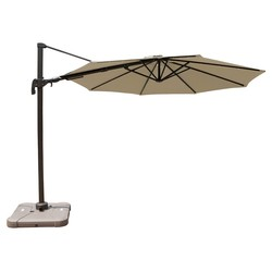 10-Feet Offset Patio Umbrella with Solar Lights - Beige