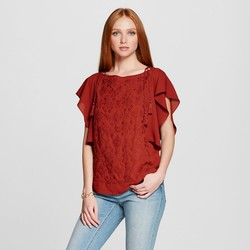 Mossimo Women's Embellished Flutter Top - Burgundy - Size: Medium