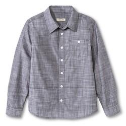 Cherokee Boys' Slub Chambray Button Down Shirt - Grey - Size: XXL