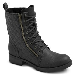 Mossimo Women's Carmen Quilted Ankle Combat Boots - Black - Size: 8