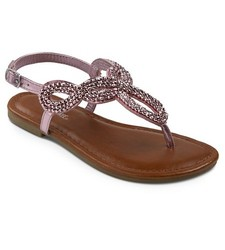 Cherokee Girls' Florence Thong Sandals - Pink - Size: 6