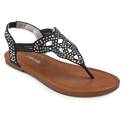 Cherokee Girls' Lynn Thong Sandals - Black - Size: 2