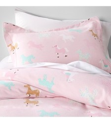 Circo And Trade Horse Flannel Cotton Duvet Cover - Pink - Size: Twin