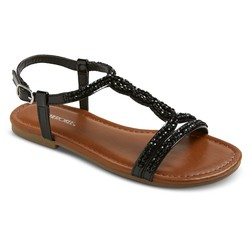 Cherokee Girls' Britt Jeweled Slide Sandals - Black - Size: 4