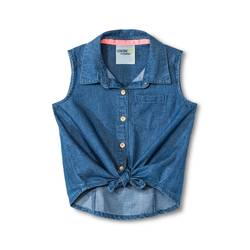 Genuine Kids Toddler Girls' Sleeveless Chambray Top - Blue - Size: 2T