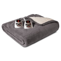 Biddeford Microplush w/ Sherpa Heated Electric Blanket - Gray - Size: Twin