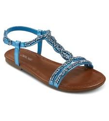 Cherokee Girls' Britt Jeweled Slide Sandals - Turquoise - Size: 4