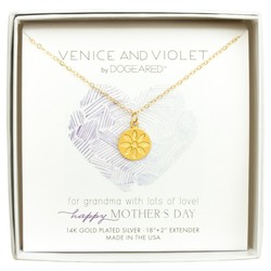 "Venice & Violet 14k Daisy Disc Necklace 18"" - Happy Mothers Day"