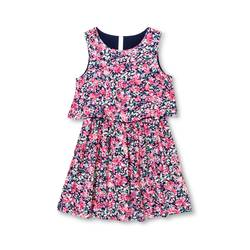 Cherokee Girls' Floral Print Dress - Nightfall Blue - Size: Large