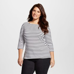 Merona Women's Plus Size 3/4-Sleeve Boatneck Tee - White/Black - Sz: 1X