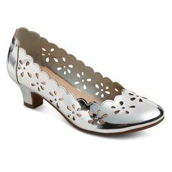 Tevolio Girls' Ada Chop Out Pumps - Silver - Size: 2