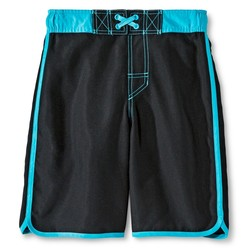 Cherokee Boys' Solid Dolphin Hem Swim Trunk - Ebony - Size: XL